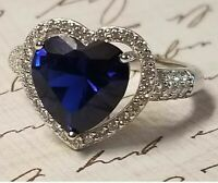 3Ct Heart Shape Blue Sapphire Women's Halo Engagement Ring 14K White Gold Finish