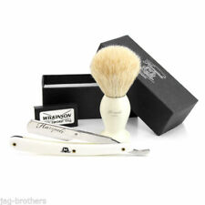 White Badger Hair Brush, Straight Cut Throat Razor (WHITE) Shaving Set 4 Him