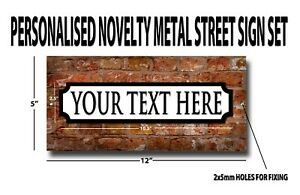 PERSONALISED NOVELTY METAL STREET SIGN SET. HAVE YOUR OWN TEXT ON THIS SIGN.