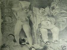 lithographie érotique tirage original 1917 A.WILLETTE sept péchés La Paresse