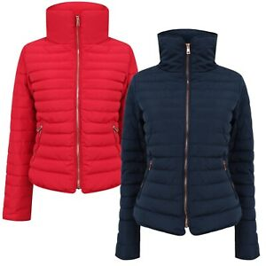 Women's Ladies Quilted Puffer Jacket Zipped Pockets Padded Bubble Coat New