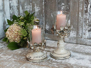 vintage style distressed metal candle holders with glass holder H25cm and H18cm