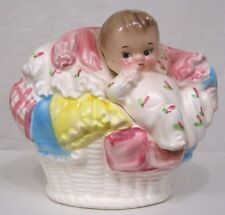 Vintage NAPCO Nursery Planter Baby in Laundry Basket Pastel Colors 1960s