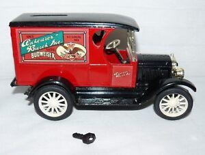 ERTL DieCast Budweiser Chevrolet Van Replica Bank With Key Coin Change Truck