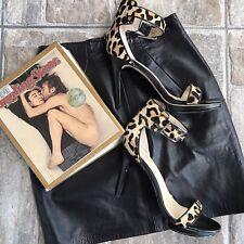 Vintage Black Leather Mini Skirt 80's 90's Size Small