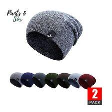 2 X Men Knitted Winter Slouch Skateboard Beanie Hat Ski Cap Warm Outdoor Black