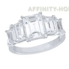 3.50 Ct Emerald Cut D/VVS1 14K White Gold Over Five Stone Engagement Ring