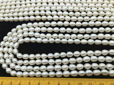 AA 6-7mm White Rice Freshwater Pearls Beads,oval loose Cultured pearl beads