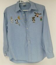 Warner Bros Looney Adult Large Blue Shirt Bugs Tweety Sylvester Taz Wylie Marvin