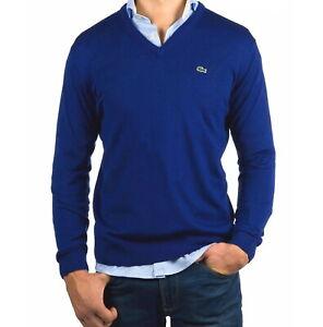 Lacoste Wool Jumper BNWT size 4XL (9) Men Ocean Blue V Neck Sweater AH3015