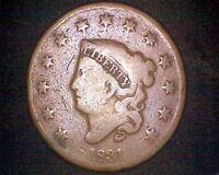 1831 CORONET HEAD LARGE CENT #18596
