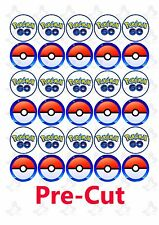 30 x Pokemon Go Edible Cup/Cupcake edible wafer/rice paper toppers PRE CUT
