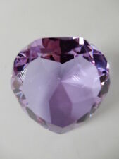 """Lavender Purple Faceted 3/14"""" Heart Shaped Crystal Paperweight"""