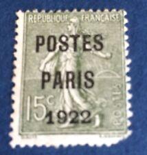 Preos Paris 22 15 C Vert Oblitéré Une Dent Faible  Cote 500€