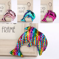 Mermaid Sequins Keychain Handbag Pendant Dolphin Keyring Bag Accessories gN