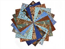 40 5 inch Quilting fabric squares Beautiful Blues/Browns Charm pack/10 Prints/2