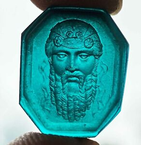 Fine Antique Intaglio Carved Turquoise Glass Seal Gem Grand Tour- #8