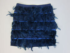 Missguided Feather Mini Skirt - Womens US 10 - Navy Blue - NWT