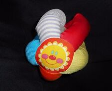 VINTAGE BABY SUN FLOWER BALL RATTLE RED BLUE YELLOW STUFFED ANIMAL PLUSH TOY