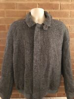Vintage L.L. Bean Wool Tweed Jacket Mens Size 44R Made In England Full Zip Grey