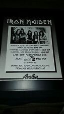 Iron Maiden Rare Original 1985 Southern California Tour Promo Poster Ad Framed!