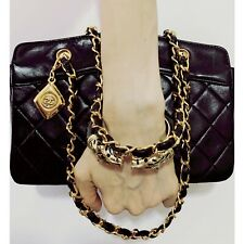 😎VINTAGE Authentic CHANEL Black Leather QUILTED Bag With CC CHARM