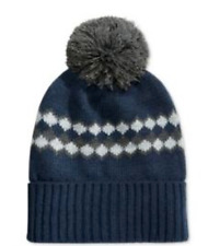 $96 CLUB ROOM MEN'S BLUE UNISEX CUFF WINTER WARM HAT CAP POM BEANIE ONE SIZE