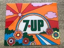 7-UP  DISPLAY SIGN  VINTAGE POP ART  SUN AND FLOWERS.  C. 1970'S  PLEXI  PLASTIC