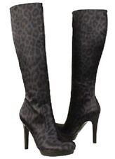 Carlos Santana Challenge Black Leopard  Knee-High boots