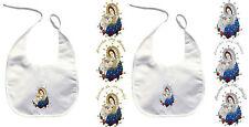Baby Infant Christening Baptism White Bib Wipe Gold Silver Holy Virgin Mary Pope