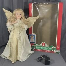 """Telco Animated Porcelain Figurine Motion-ettes Gold Angel Christmas Doll 20"""""""
