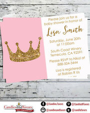 gold glitter pink princess crown printed baby shower invitations