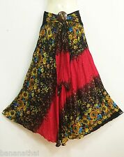 Peasant Boho Maxi Flare Long Skirt Casual Summer Beach Rayon Red Floral S M L XL