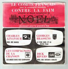"""NOËL 45T 7"""" EP Photos Dédicaces AZNAVOUR BRASSENS COMPAGNONS CHANSON Dick RIVERS"""