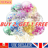 """10 Pack Confetti Balloons Latex 12"""" Decorations Helium Birthday Wedding Party"""