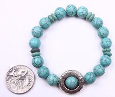 Turquoise Aqua plastic bead beaded Elastic Circle Frame Bracelet