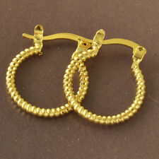 "Great New Yellow Gold Filled Rib Textured Band Design 5/8"" Round Hoop Earrings"