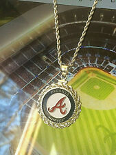 MLB ATLANTA BRAVES NECKLACE w MATCHING STERLING SILVER ROPE BEZEL & CHAIN