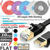 Gold Plated RJ45 Cat7 10Gbps Flat Ethernet Network Gigabit Patch Cable LAN Lead