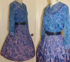 "VINTAGE 1950'S OCCASIONAL DRESS, L/XL, BUST 40"", SIDE METAL ZIPPER, FRONT BUTTON"
