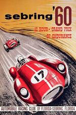 VINTAGE 1960 US GRAND PRIX AT SEBRING AUTO RACING POSTER PRINT 36x24