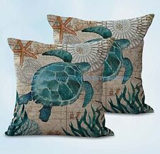 US SELLER, 2pcs ocean beach turtle cushion cover cheap home decor