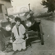 Antique Funny Girl Unusual Nash Car Fire Pinstripe Photo Vernacular Photography