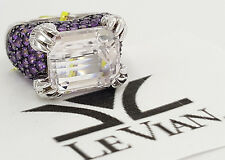 LeVian 14k White Gold 8.50 ct Kunzite & 0.15 ct Round Diamond Ring Rtl $3,747