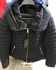 ZARA BLACK QUILTED FUR COLLAR PUFFER ANORAK JACKET COAT GOLD ZIPS EXTRA LARGE XL
