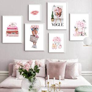 Fashion Paris Vogue Girl Canvas Poster Perfume Bag Lip Picture Modern Home Decor