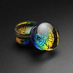 Glass Ear Plugs Gauges   Ocean Dichroic Style Glass Double Flare Plug