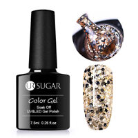 7.5ml Holographic Glitter Soak Off UV Gel Polish Sequins Varnish Gold UR SUGAR