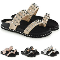 Womens Slider Flat Studs Sandals Ladies Slip On Holiday Mules Summer Shoes Size