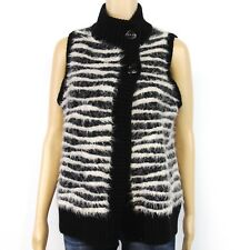 Chico's Womens Sweater Cardigan Vest Sz 1 M Knit Black White Striped Wool Mohair